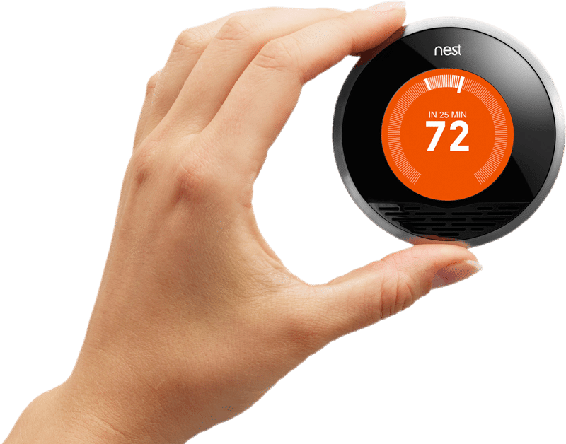 hand on thermostat knob